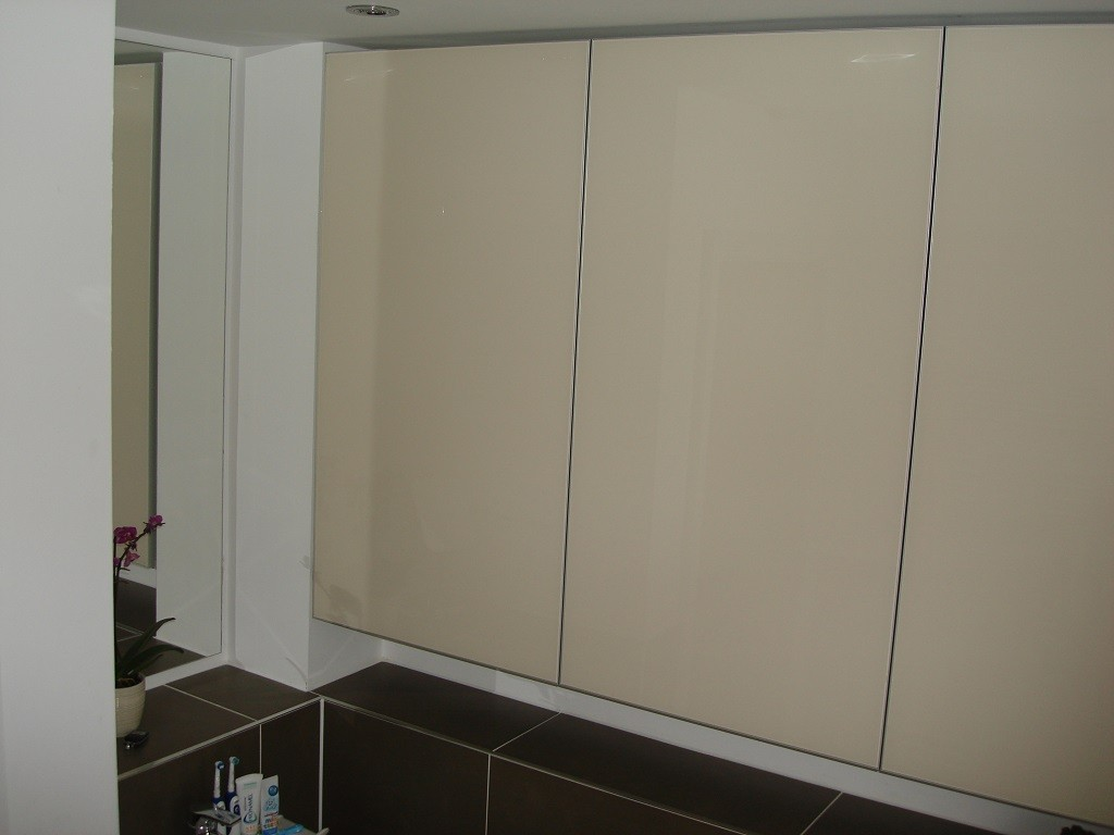 Bathroom painted glass cabinet 3