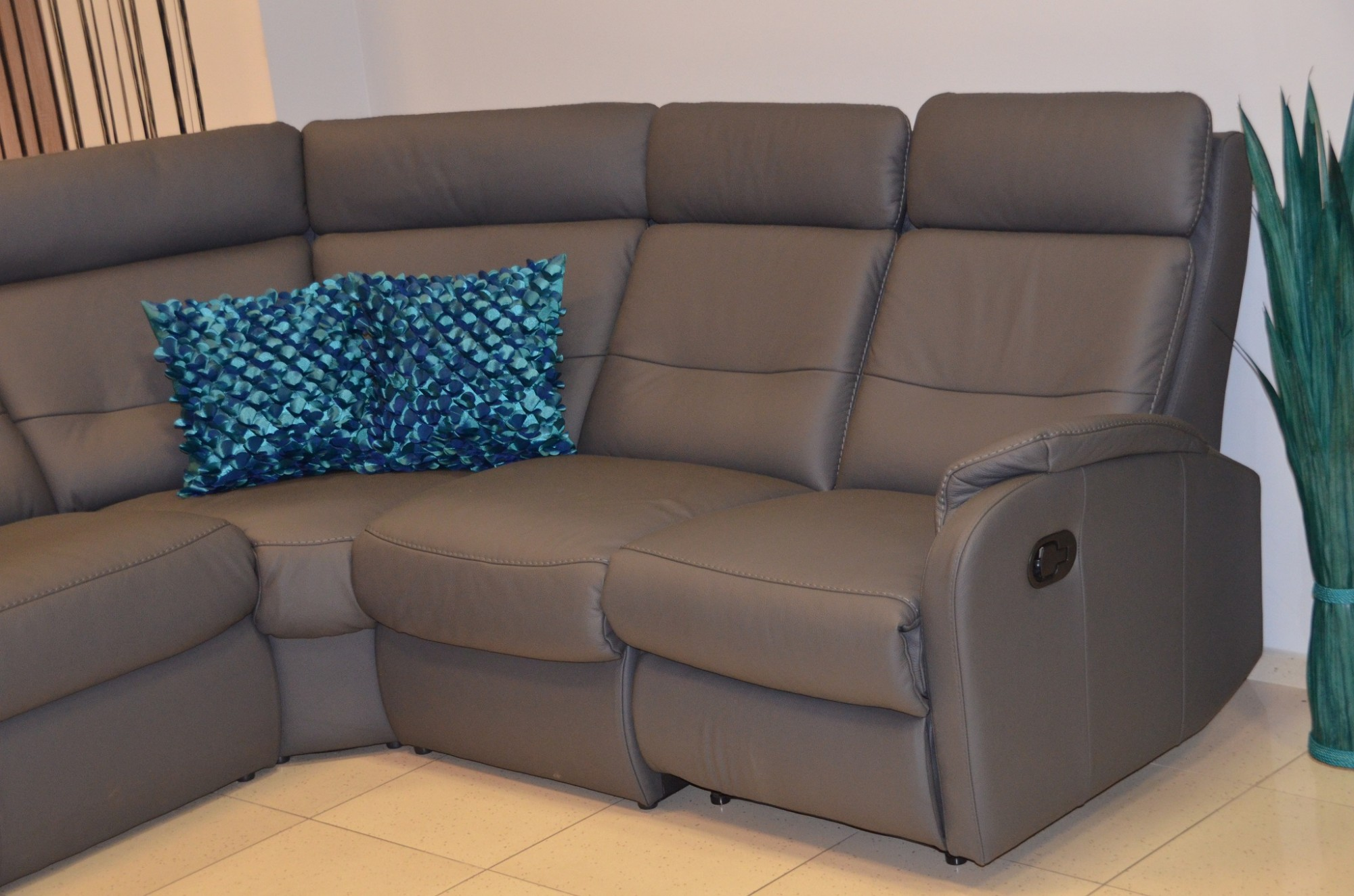 Caro corner leather reclining sofa